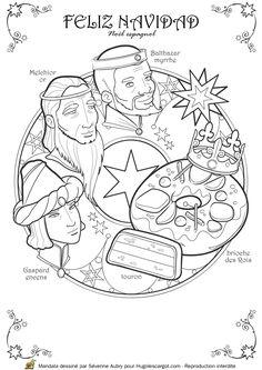 Coloriage / dessin mandala de Noël espagnol avec les rois mages, la couronne, la brioche et le turon