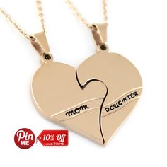 """Heart Necklace Daughter Mother Perfect gift Pendant Gold Stainless Steel Set (2pcs) 18"""" Chains Included"""