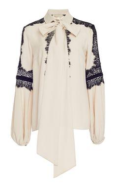 Crepe Georgette Lace Shirt by ELIE SAAB
