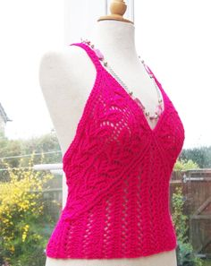 Handknitted Women Lace Top Summer Tank Fushia Top by evefashion, $45.00