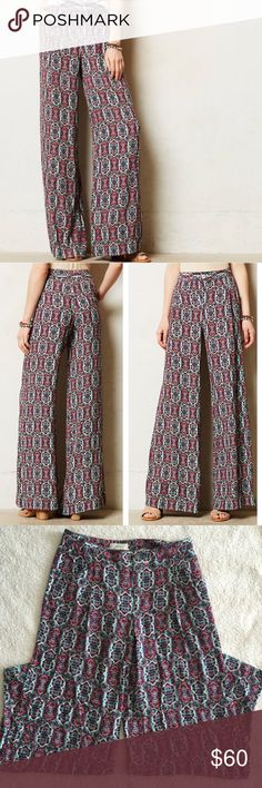 """Anthropologie """"Elevenses"""" Wide Leg Pants In great condition!  No noticeable flaws.  Cotton, viscose, and spandex So soft!  Feature side pockets and two buttons where you can adjust based on waist size  Approx Measurements: 31 inch waist and 31 inch inseam Anthropologie Pants Wide Leg"""