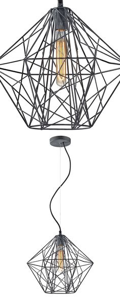 A stunning feat of modern design, this Gio Pendant Lamp boasts an open, geometric shade sure to catch the eye. Caged behind this chic covering is one socket for an industrial-style medium-base light bu...  Find the Gio Pendant Lamp, as seen in the The Dark Side of Mid-Century Collection at http://dotandbo.com/collections/the-dark-side-of-mid-century?utm_source=pinterest&utm_medium=organic&db_sku=118089