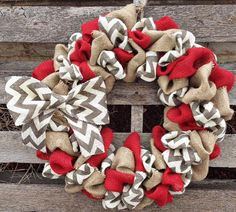 Red and grey wreath | Burlap Wreath with Red, Natural and Gray/White Chevron Home Decor ...