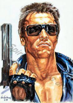 The Terminator (1984) movie poster, Arnold Schwarzenegger painting portrait