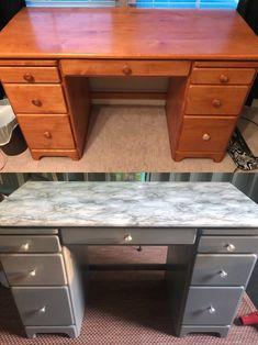 Marble Desk, Marble Furniture, Paper Furniture, Desk Makeover, Furniture Makeover, Repurposed Desk, Home Office Space, Apartment Furniture, Diy Desk