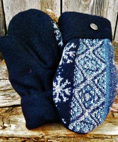 Handmade Black and Blue Patterned Wool Sweater Mittens Sweater Mittens, Wool Sweaters, Black Wool Coat, Grey And White, Upcycle, Handmade, Blue, Etsy, Fashion