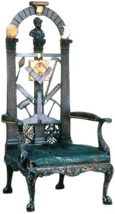 This hand-carved Worshipful Masters Chair dates to the 1700s. The Worshipful Master sits in the east end of the room while he governs.