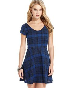 Planet Gold Juniors' Plaid Skater Dress - Juniors Dresses - Macy's