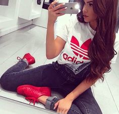 Pretty Girl Swag Dope Adidas TShirt Denim Jeans SuperColour Red Trainers Sneakers Urban Streetwear Fashion Style Trend