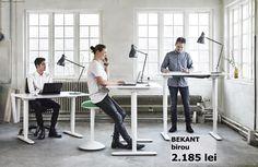 BEKANT standing desk by IKEA – ergonomic office furniture design ideas Ikea Desk, Ikea Home Office, Modern Office Desk, Office Setup, Contemporary Office, Office Table, Office Ideas, Ikea Standing Desk, Modern Design