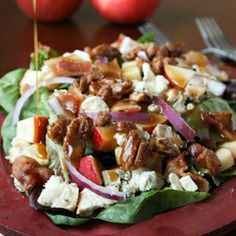 Crisp fall apples served on a bed of lettuce with chicken, bacon, red onion, and blue cheese all drizzled with a garlic-dijon vinaigrette.