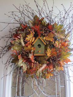Fall Wreath Autumn Wreath Birdhouse Wreath  by DoorWreathsByDesign, $57.95