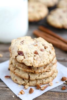 Cinnamon Toffee Pecan Oatmeal Cookies from @Maria (Two Peas and Their Pod) on chef-in-training.com ... This combo of flavors is mouthwatering! Great idea for holiday baking! #cookie #recipe
