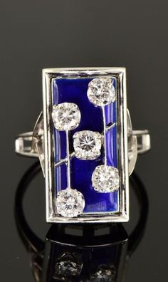 EXCLUSIVE ART DECO ROYAL BLUE ENAMEL DIAMOND SIGNED CUSI PANEL RING