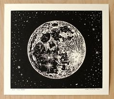 This print features the full moon! I carved this plate in 2009 for an exhibition of oil paintings and prints called, The Walking Man and the Moon. It