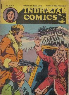 Indrajal Comics - The Secret Of The Blue Mountain (Issue) Vintage Comic Books, Vintage Comics, Indrajal Comics, Blue Mountain, Comic Covers, The Secret, Reading, Maps, Magazine