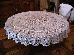 Ravelry: Engagement Round Tablecloth pattern by Elizabeth Hiddleson Crochet Tablecloth Pattern, Crochet Bedspread, Crochet Doily Patterns, Crochet Motif, Hand Crochet, Crochet Coaster, Filet Crochet, Crochet Round, Thread Crochet