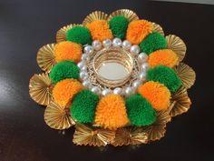 Items similar to Pom-pom tealight Candle Holder / Diya/ Diwali - Christmas decoration // wedding decoration on Etsy Diwali Decoration Items, Diya Decoration Ideas, Origami Decoration, Diwali Diya, Diwali Craft, Diy Candles, Tea Light Candles, Diwali Candles, Nylon Flowers