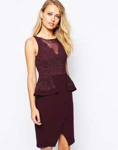 Coast Purple Tessa Peplum Dress