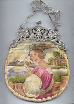 Figural Prince with Bird Micro-Petitpoint Purse with Silver Figural Dragon Frame.  Click on image for more photos.