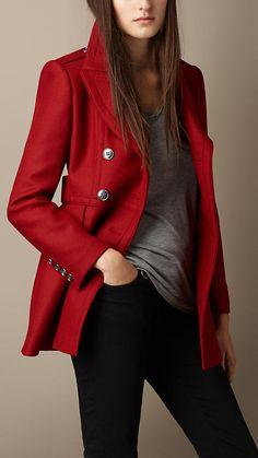 Manteau en double sergé de laine | Burberry