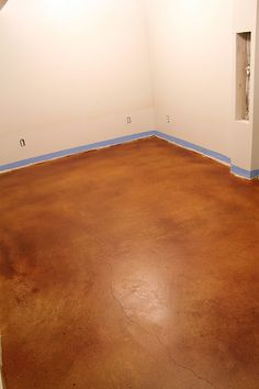 Staining concrete floors.  Want to try in son's bedroom.  Since our dog's kennel is in his room, dog hair is constantly everywhere in his room. Want to try an inexpensive new idea with the floor.