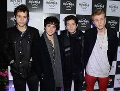 The Vamps bandmates James McVey, Brad Simpson, Connor Ball and Tristan Evans come to see Pixie Lott performance at Hard Rock Cafe London in November 2015...
