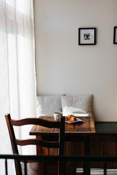 white and wood cozy corner