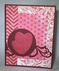 Love card. Embossing, hearts, Spellbinders.