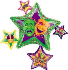 The Masquerade Star Cluster Mylar Balloon is a colorful addition to your Mardi Gras Event. The Masquerade Star Cluster Helium Balloon measures 32 inches and is printed on both sides. Big Balloons, Mylar Balloons, Halloween Costume Shop, Halloween Costumes For Kids, Mardi Gras Parade, Comedy And Tragedy, Mardi Gras Decorations, Star Cluster, Kids Party Supplies