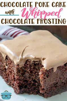 The Ultimate Chocolate Poke Cake is made with chocolate cake mix instant chocolate pudding and topped with a whipped chocolate frosting chocolatecake pokecake Whipped Chocolate Frosting, Chocolate Brownie Cake, Dark Chocolate Cakes, Chocolate Chip Muffins, Chocolate Recipes, Healthy Chocolate, Pudding Poke Cake, Pina Colada, Frosting Recipes