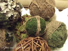 Easy DIY Moss, Burlap and Grapevine Balls