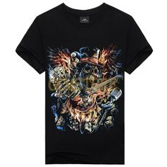 Mens Skull Dragon Personalized 3D Creative Printing Casual T Shirts