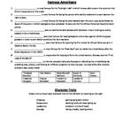 This is a quick Study guide activity that I made to send home with my students right before the test. It only reviews the famous americans, charact...