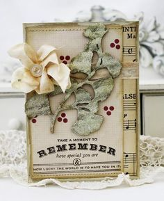 vintage, like the paper combo with the red berries and sentiment images