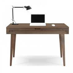 Highland 75 Small Desk with Wood Legs in Walnut