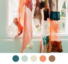 Salmon and Teal... so pretty. id like it for a room color palette