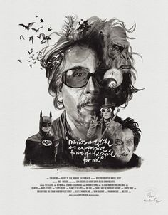 Movie Director Portrait Print, Tim Burton in Poster Art Tim Burton, Tim Burton Kunst, Film Tim Burton, Burton Burton, Portraits Illustrés, Famous Directors, Illustrator, Beloved Movie, Poster Art