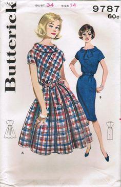 Vintage ca. 1961 Butterick 9787 UNCUT Sewing Pattern Misses' Dress Size 14 Bust…
