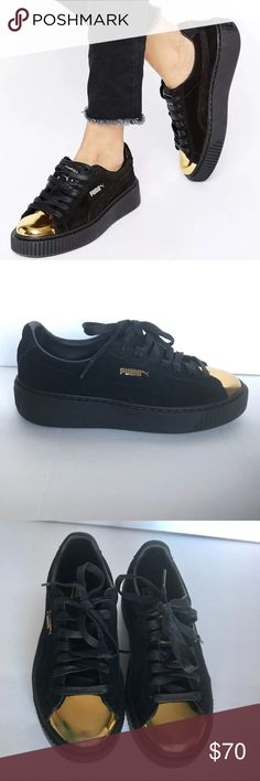"""Puma Suede Creepers Gold Toe Platform sneakers TheseNEW Puma Platforms Suede black creepers gold cap toe platform sneakers - sz. 7 are NEW WITHOUT TAGS OR BOX and have never been worn. DETAILS: • Puma suede creeper low-top. • 1.3"""" platform heel. • Patent leather cap toe. • Logo patch on tongue. • Embossed logo at side and backstay. • Lace-up front. • Rubber outsole. • """"Basket"""" is imported. Puma Shoes Sneakers"""