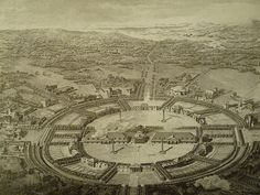 Claude-Nicolas Ledoux's La ville de Chaux (1804). Ideal City,  rings organising, the heiarki of power. How the social structure is built up relates to a shape. Geometry is repeated while looking at utopian ideas. Read it into the detailing of the architecture.
