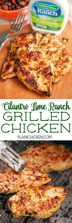 Ranch Grilled Chicken - cilantro lime ranch dressing, olive oil, cumin ...