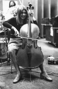 Annie Haslam playing cello De lane Lea studios 1977, Roy Wood in background wondering what all the noise was !