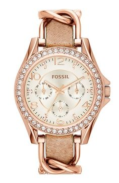 Fossil 'Riley' Crystal Bezel Multifunction Leather Strap Watch, 38mm available at #Nordstrom