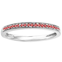 Sterling Silver 1/10ct TW Round Ruby Wedding Stackable Ring (I1-I2) (Size