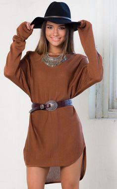 Showpo Lazy Girl Top in Camel - 10 (M) Knitwear