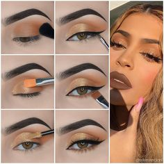 Chic Gold Eye Makeup Step by Step Tutorials - - Do you like the exquisite makeup of fashion celebrities, such as Kylie Jenner, Ariana Grande and Kim Kardashian? Let's learn these eyeshadow tutorials. Red Eye Makeup, Makeup Eye Looks, Eye Makeup Steps, Beautiful Eye Makeup, Makeup For Brown Eyes, Eyeshadow Makeup, Natural Eye Makeup Step By Step, Eyeshadow Step By Step, Natural Eyeshadow