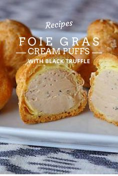 Foie Gras Cream Puffs with Black Truffle  Generously filled with silky, truffle-studded foie gras, these crispy choux puffs make the perfect special occasion appetizer.  Ingredients: 4 tablespoons unsalted butter ½ cup water Pinch of salt ½ cup all-purpose flour 2 eggs Sel Gris or Maldon salt 1 Medallion of Foie Gras with Black Truffles, softened  Get the full recipe on our website and follow us for cooking tips, recipes and ideas! #foiegras #truffle #blacktruffle #recipe