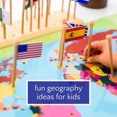 Fun geography activities and ideas for kids. Ditch the flash cards and boring quizzes. Teach kids about the world with these fun ways for kids to learn geography including games, puzzles, books & food! Geography For Kids, Geography Activities, Geography Lessons, Teaching Geography, Teaching Kids, Kids Learning, World Map Game, World Map Puzzle, Puzzle Books
