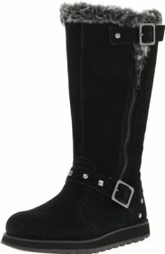 Skechers Women's Keepsakes-Tall 2 Buckle Snow M US. Decorative studs and a faux-fur lining add snazzy style to a toasty snow boot. Variation: Size - B(M) US. Ugly Shoes, Fancy Shoes, Cute Shoes, Me Too Shoes, Shoe Gallery, Snow Boots Women, Mid Calf Boots, Bearpaw Boots, Skechers